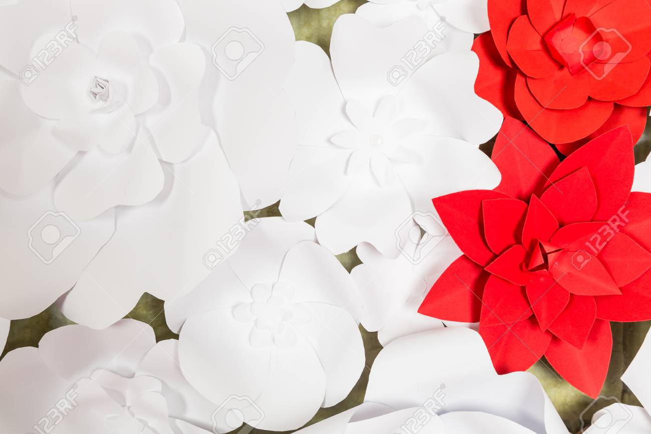 Handmade Paper Flowers On Interior Wall For Event Or Holiday Stock
