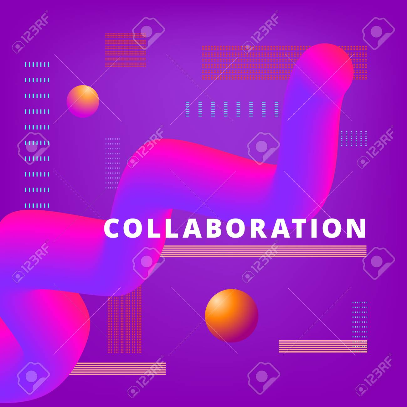 collaboration phrase on color background with 3d abstract shapes