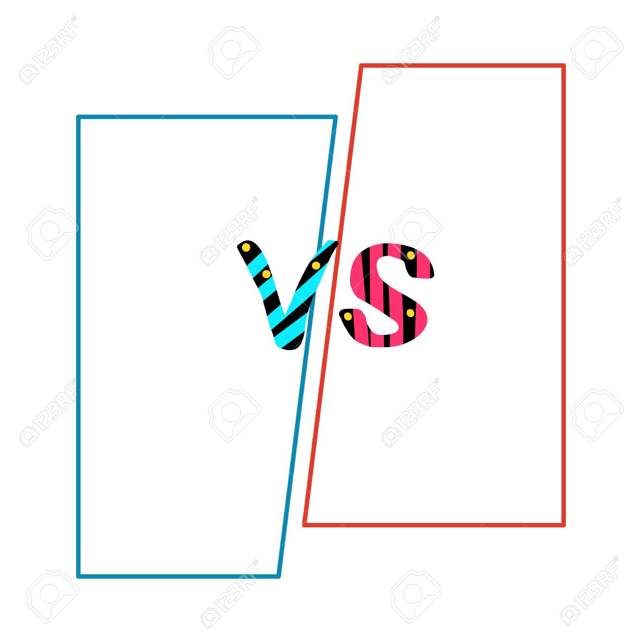 Versus Sign On Divided Background. VS Phrase With Frames. Template ...