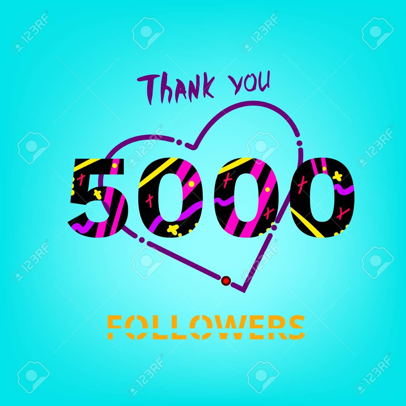 5000 Seguidores Gracias Frase Sobre Fondo Azul Memphis Efecto De Moda De La Tipografía Banner De 5k Suscriptores Para Blog Plantilla Para