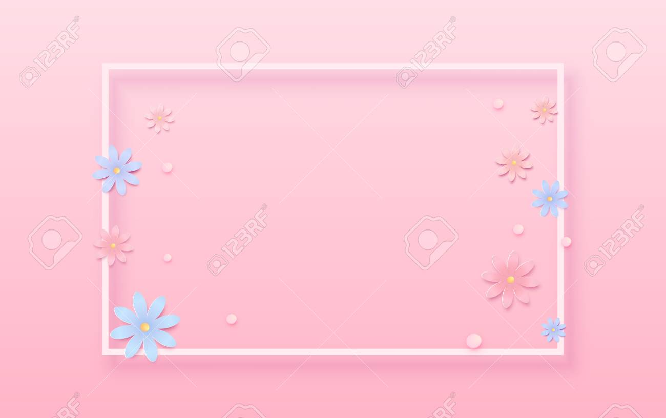 Cover With Empty Phone Frame And Flowers Pink Background Elements For Graphic Design