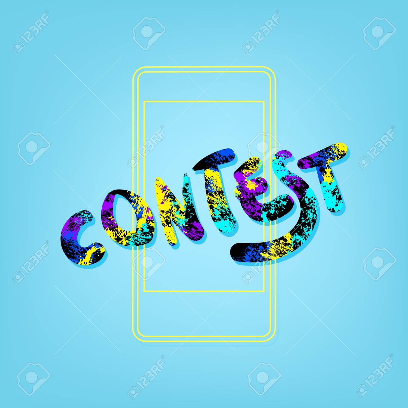 Contest phrase with phone background  Element for graphic design