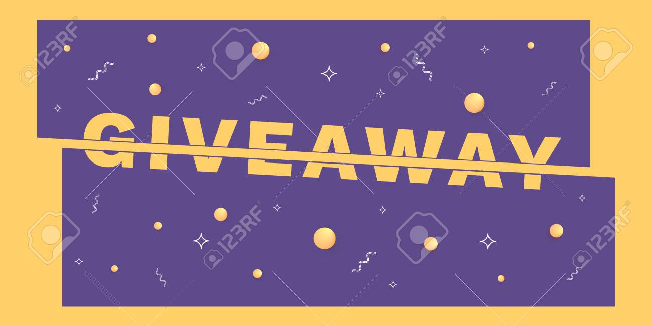 giveaway horizontal banner sliced text effect element for graphic
