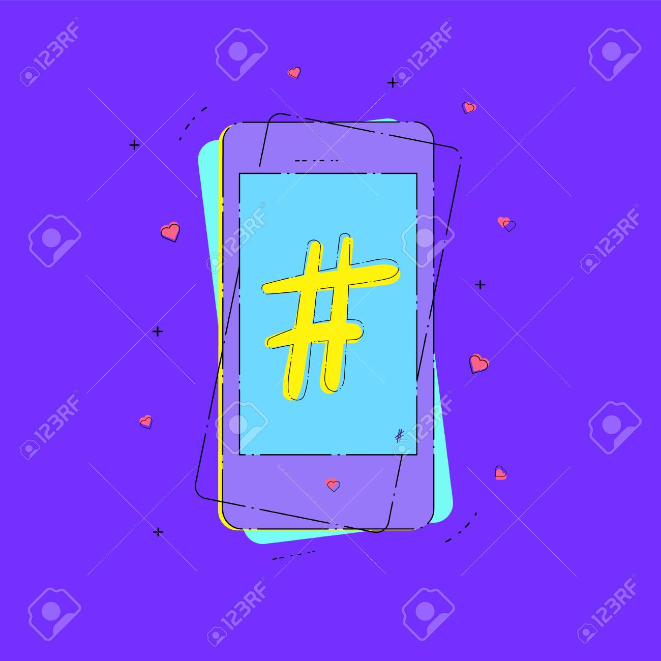 Hashtag Sign With Phone Number Symbol Glitch Chromatic Aberration