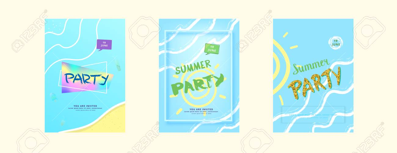 Set Of Vertical Summer Party Banner Template For Holiday Design