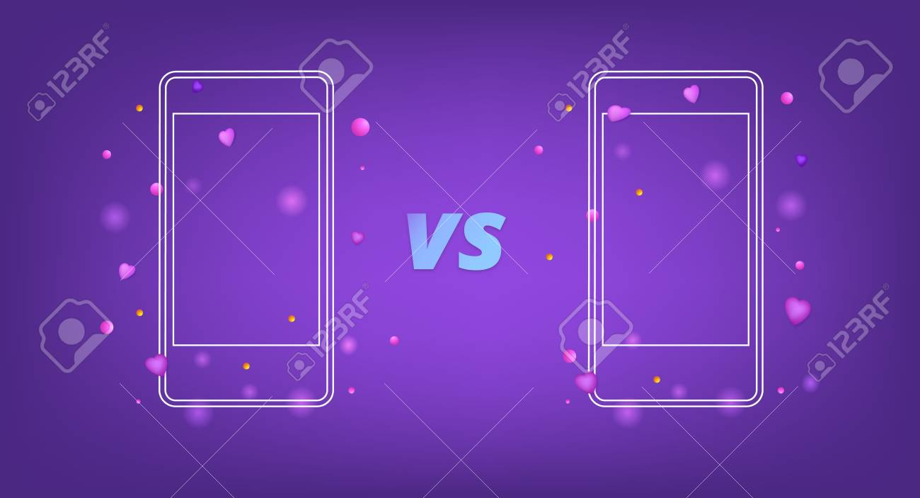 versus screen template vs card with phones vector illustration