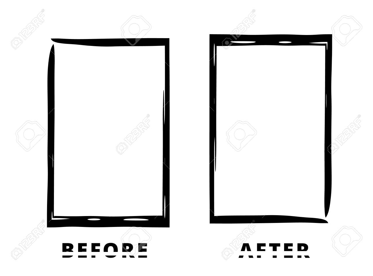 Before And After Sliced Text With Black Frames Isolated On White