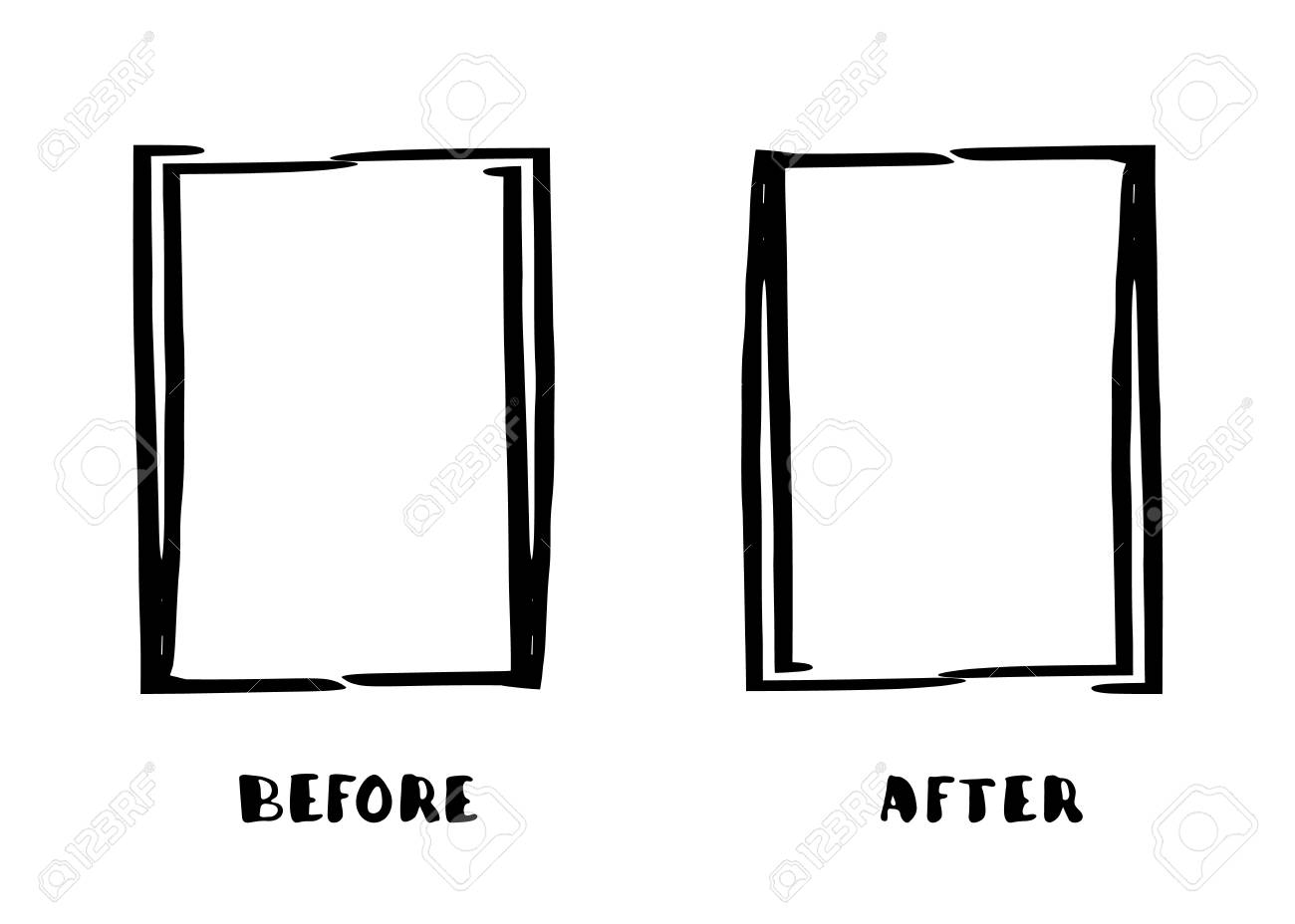 before and after frames isolated on white background comparison