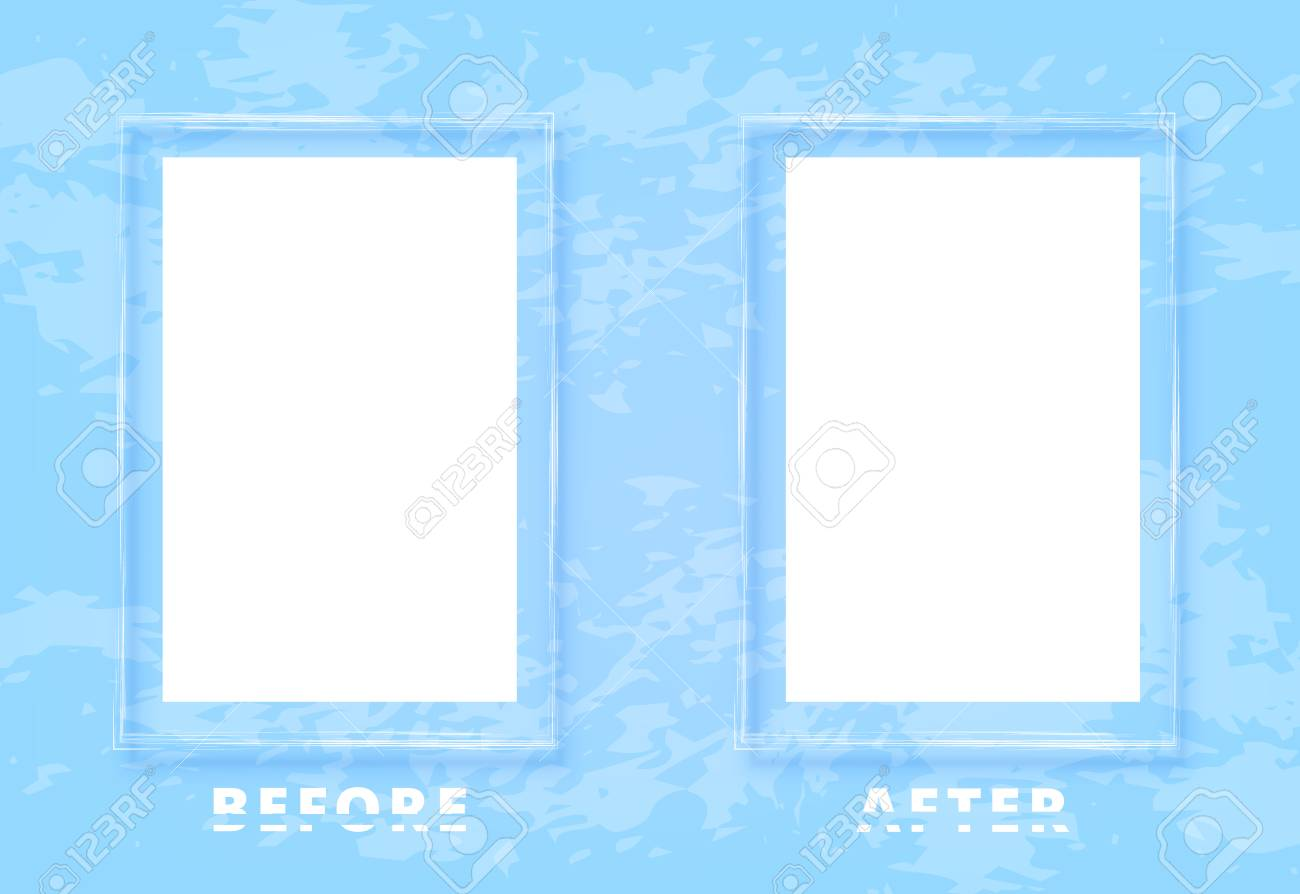 Before And After Screen With Sliced Text And Frames Comparison