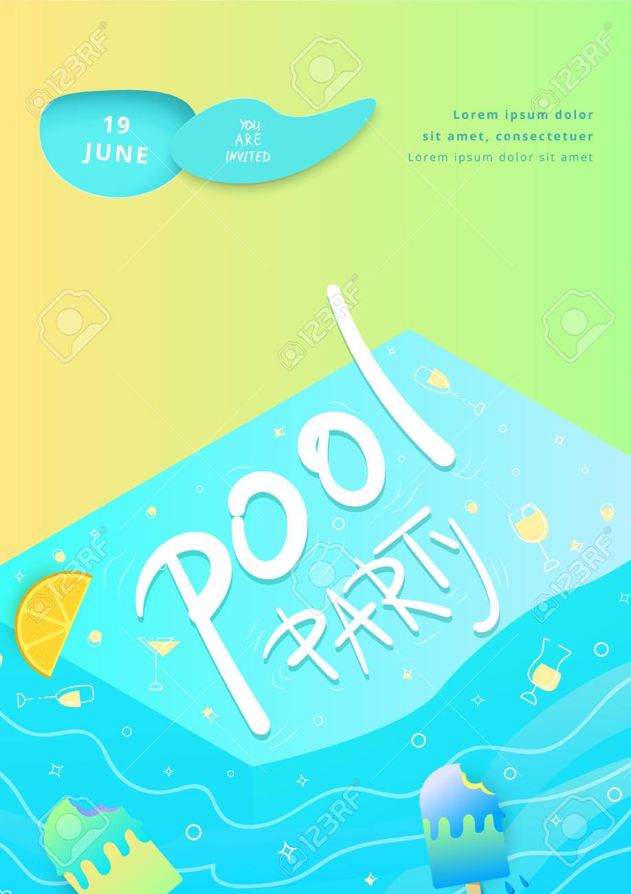 pool party flyer paper cut effect vertical template for summer