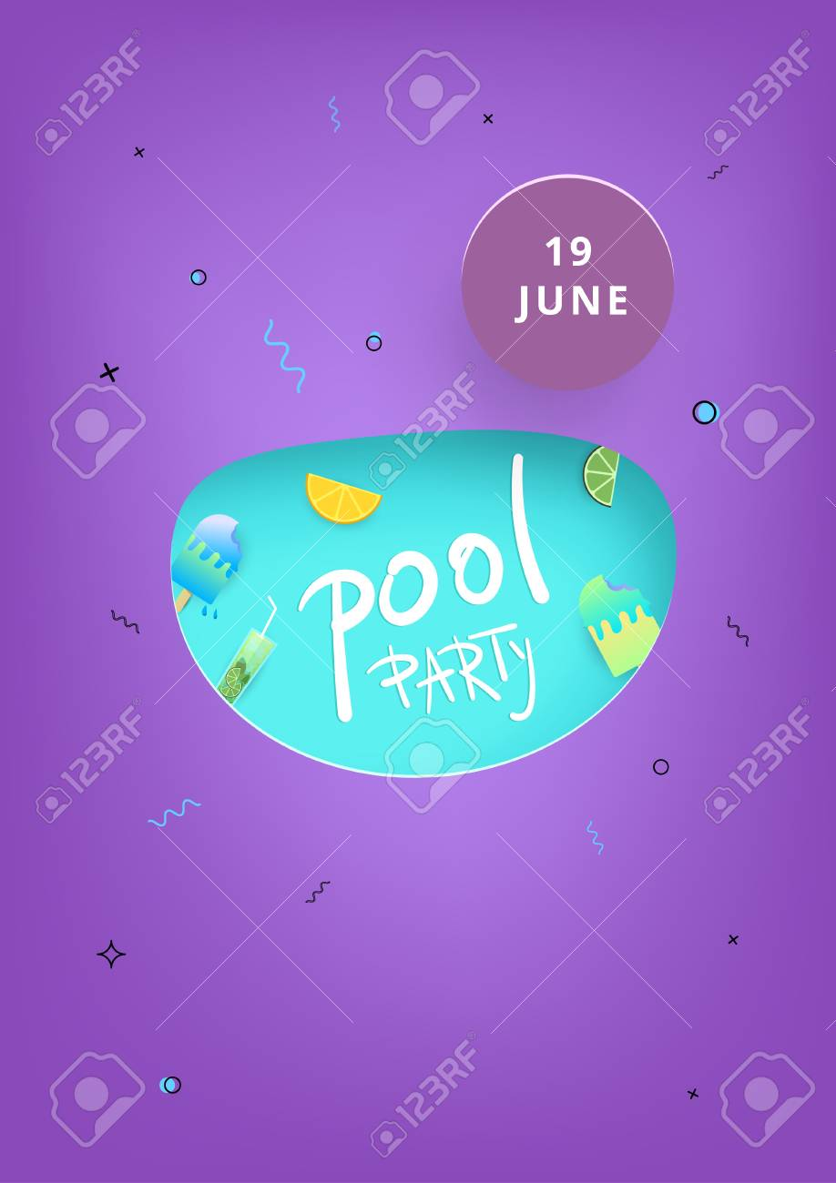Vertical Pool Party Banner Template For Holiday Summer Flyer