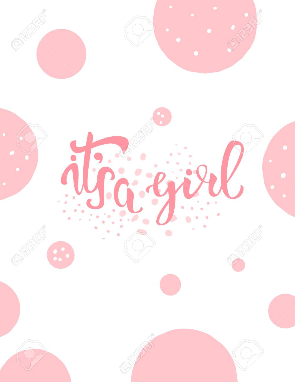 Its A Girl Baby Shower Invitation Template Handwritten Lettering