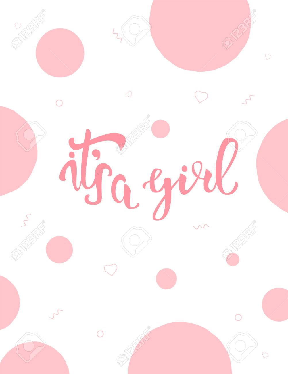 It S A Girl Baby Shower Invitation Template Handwritten Lettering