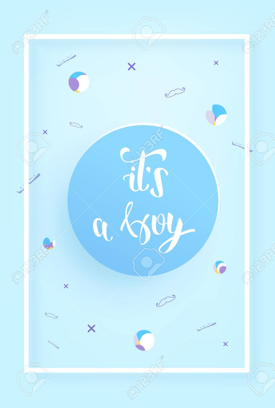 Baby Shower Invitation Template | It S A Boy Baby Shower Invitation Template Handwritten Lettering