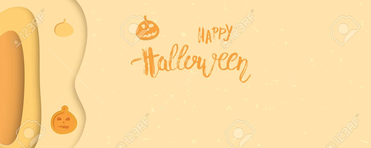Halloween Template | Happy Halloween Template With Pumpkin And Paper Cut Shapes And