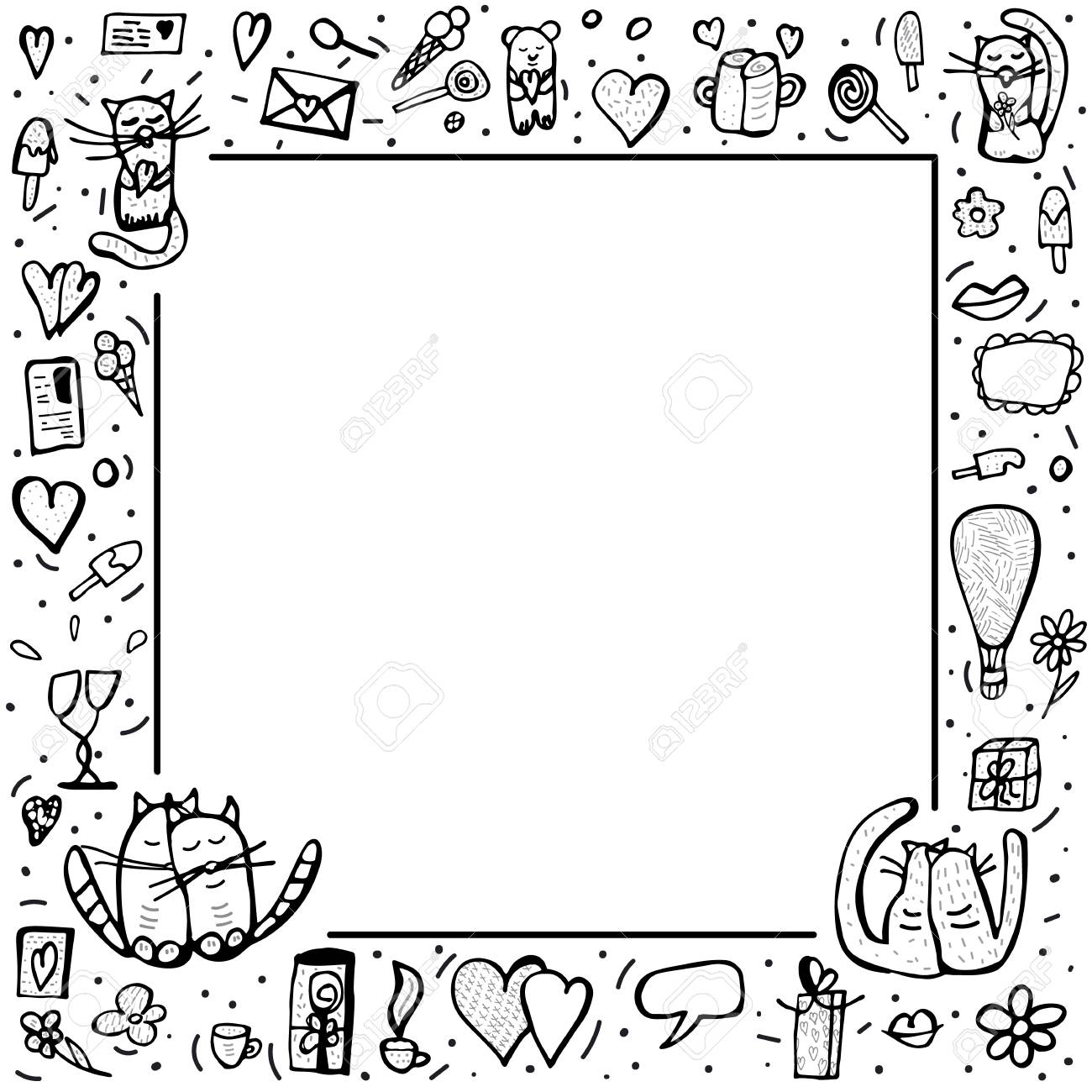 Square Frame With Cute Love Symbols In Doodle Style Cats And Valentine Day Objects Vector Illustration