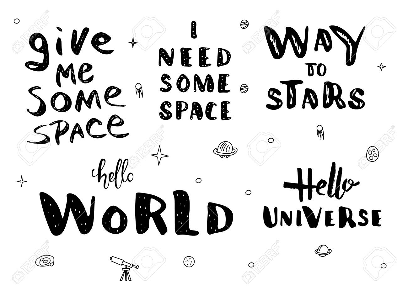Vector quotes of Univers  Handwritten lettering set isolated