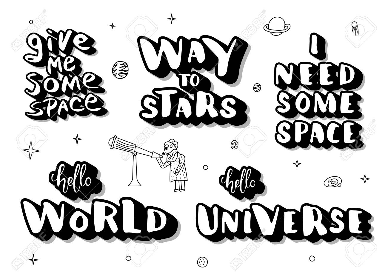 Set of handwritten space quotes with decoration. Galaxy phrases..