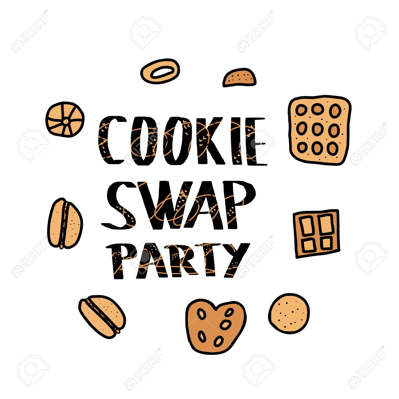 Cookie Swap Party Quote And Pastry Hand Lettering With Doodle