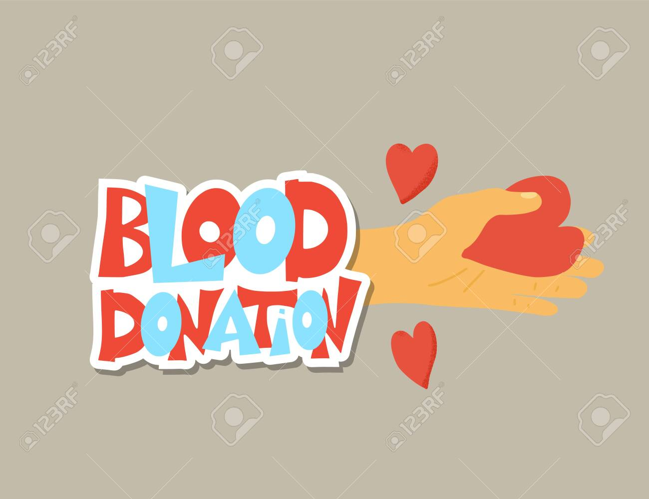 Blood donation concept. Sticker with text and hand with hearts. Vector flat illustration. - 139198452
