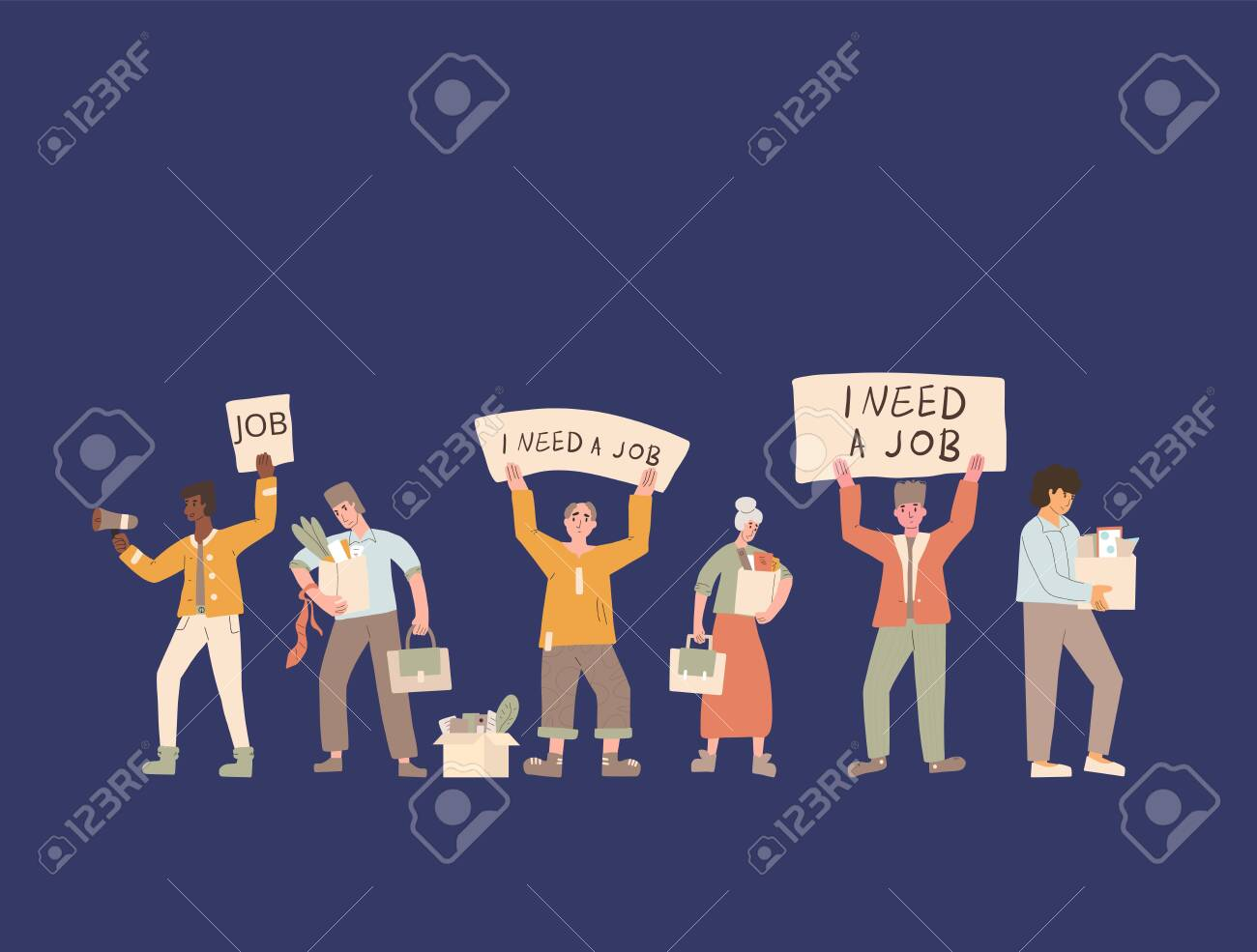Protests against dismissal. Jobless people. Job search. Unemployed in search of work. Group of people shows the sign. - 150631258