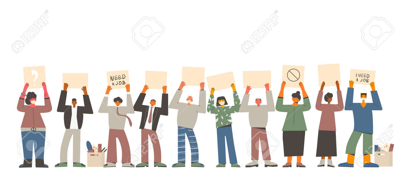 Job search. Dismissed people standing with banners isolated on white background. Activism. Vector flat illustration. - 168652602