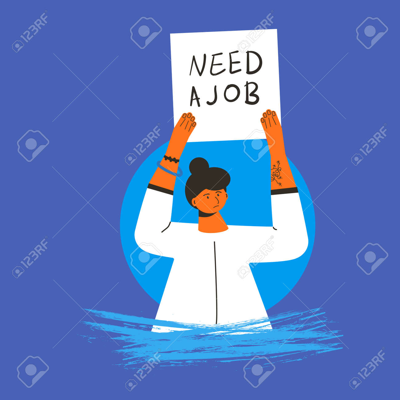 Woman with banner Need a job. Vector flat illustration. - 168652603