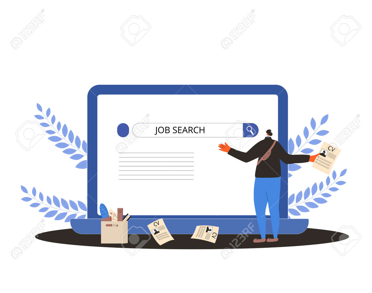 Job search. Dismissed worker try to find a work online. Fired man standing near huge laptop, he is confused and disapointed. Vector flat illustration. - 168652634