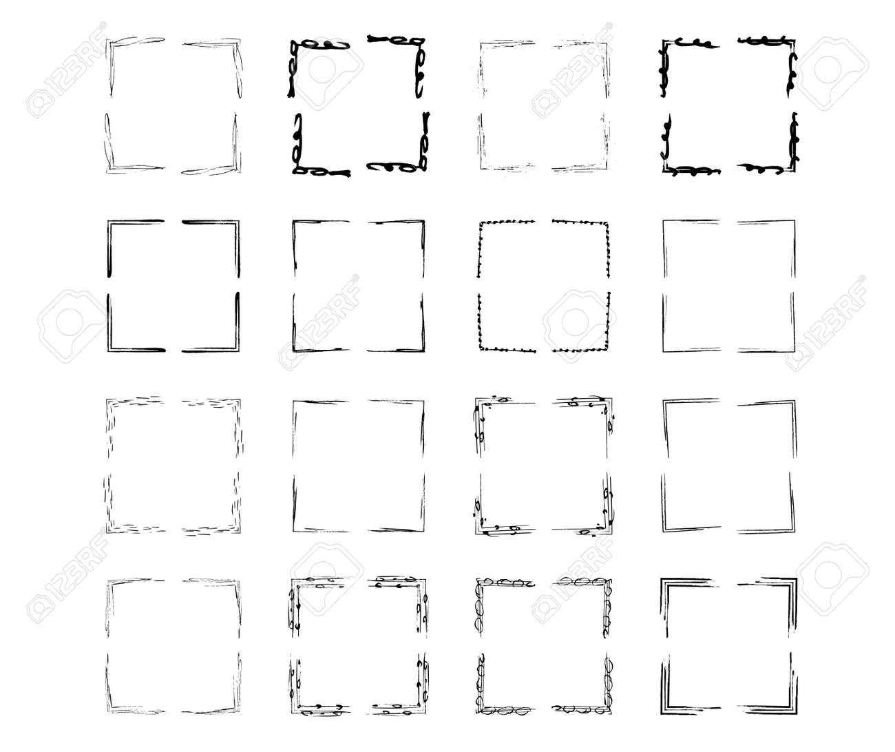 Set of black square grunge frames. Geometric empty borders collection. Vector illustration. - 168652637
