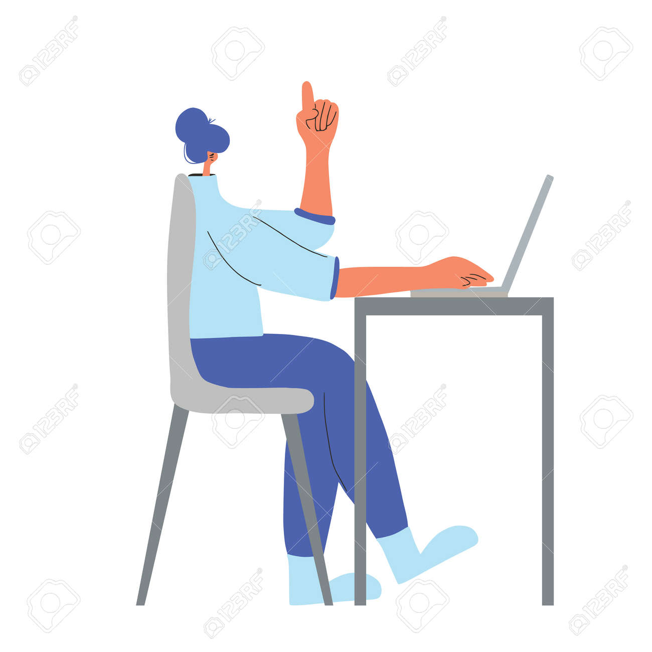 Idea. Character working on computer. Female person using laptop. Young woman sitting on chair and thinking about job. Vector flat color illustration. - 167595160