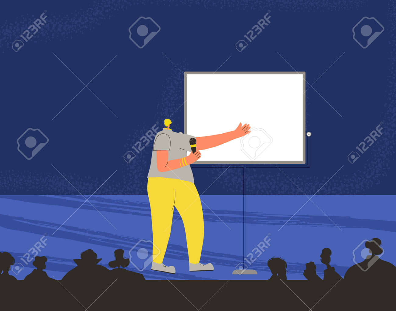 Young woman performing on a stage. Business conference. Presentation. Vector flat characters illustration. - 170369780