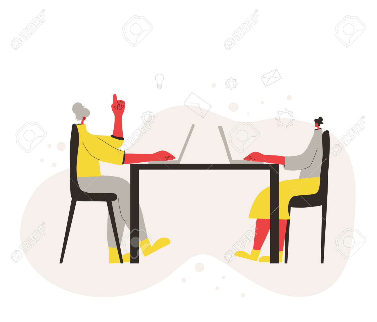 Two young women working on computer. Coworkers sitting at the meeting and talk about curent project. Characters working on laptop. Vector flat color illustration. - 168652648