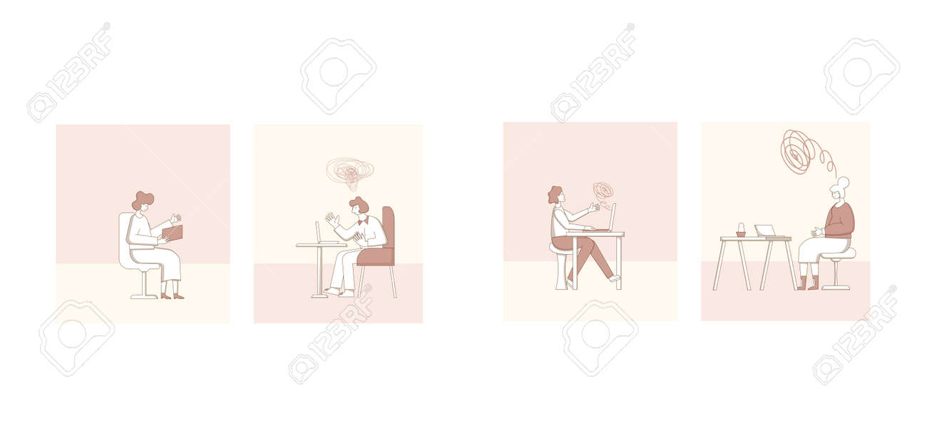 Psychological help online scenes. Counseling concept. Internet therapy session with stressed patient. Psychiatrist and client talking about feeling. Couch listening sad man. Vecotor flat illustration. - 170369781