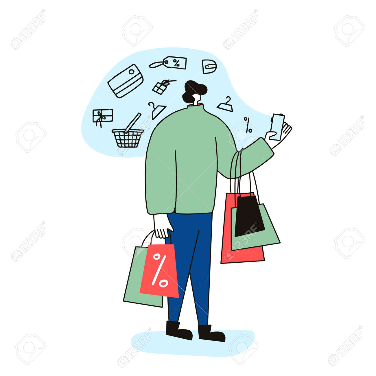 Male character with shopping bags isolated on white background. Sale concept. Man dressed in casual clothes standing and using his phone fo find a good deals and ordering a gifts. Vector illustration. - 168652651