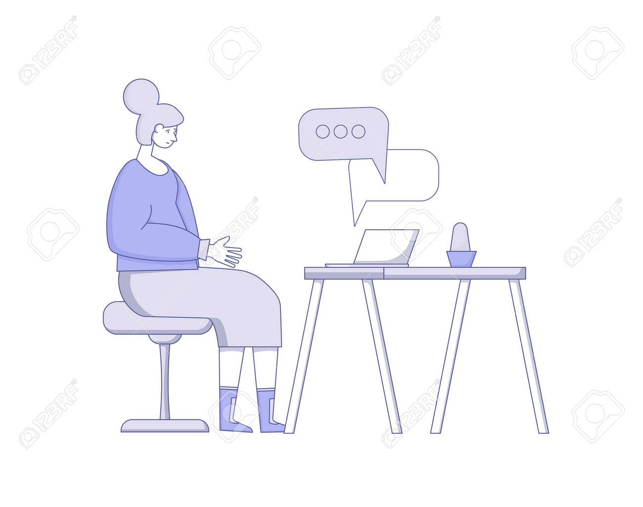 Video call. Interview online. Senior woman sitting on laptop and talking with her family isolated on white background. Vecotor flat illustration. - 168652653