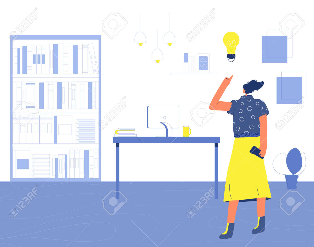 Woman have an idea. Self employed character standing in her room. Freelancer working at home. Vector flat illustration. - 170369988
