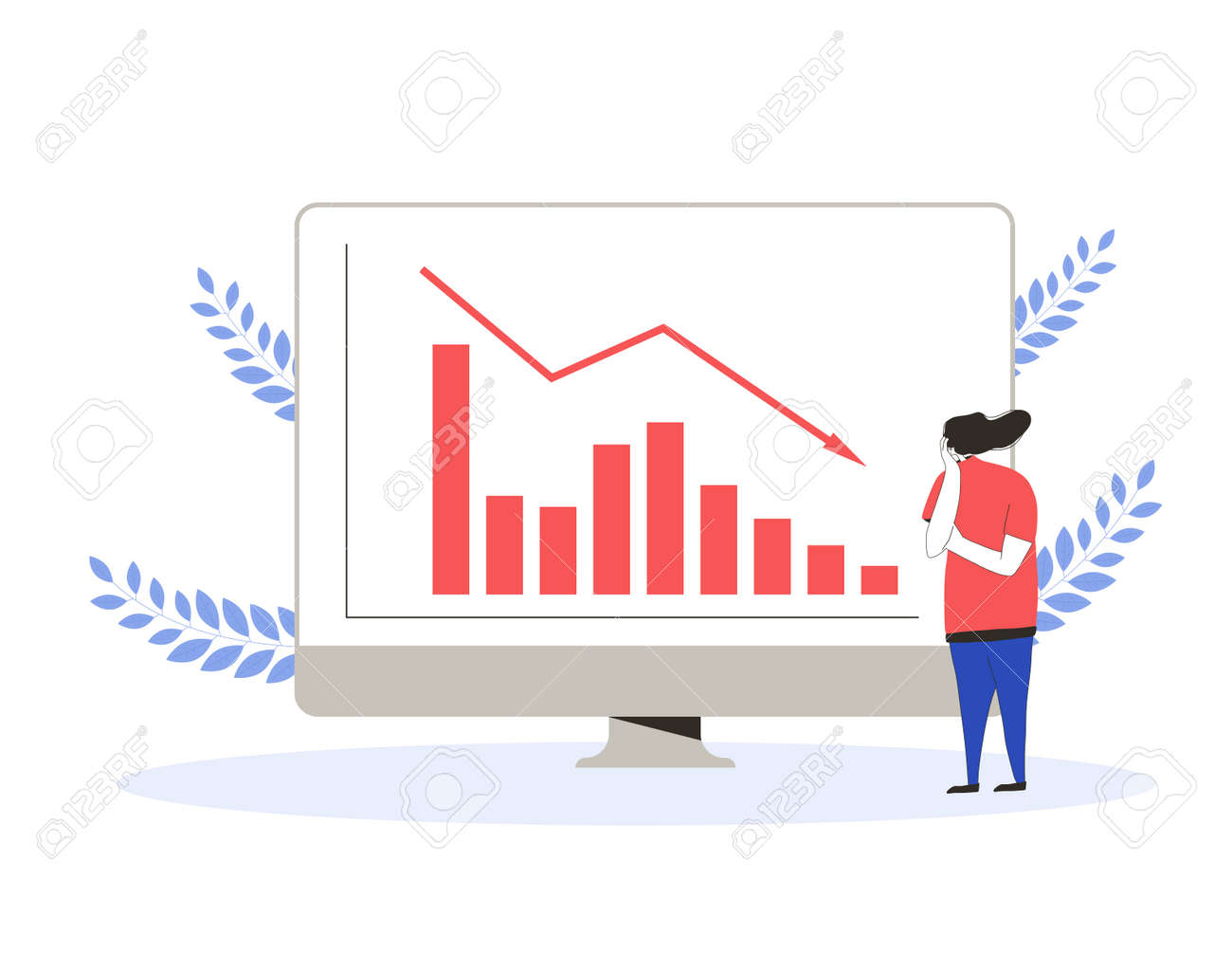 Stock market crash. Invest in the bonds company's bonds fail. currency trader. Sad woman with graphic of stocks plummeting on computer screen. Collapsing prices. Global recession. Vector flat illustration. - 168652657