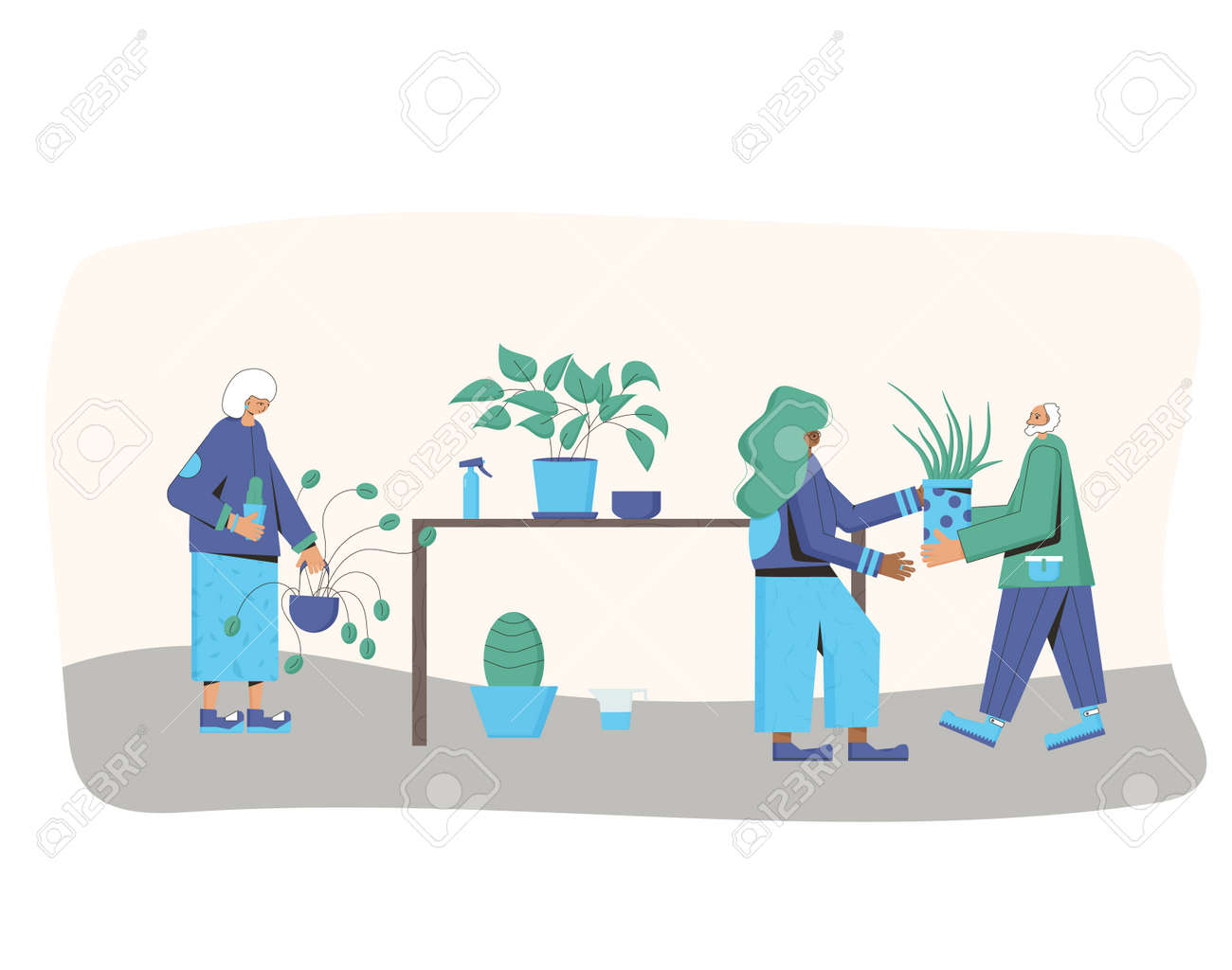Indoor plants lovers club. Persons wearing in casual clothes holding in hands potted flower going to watering. People with houseplants. Vector color flat illustration. - 170370080