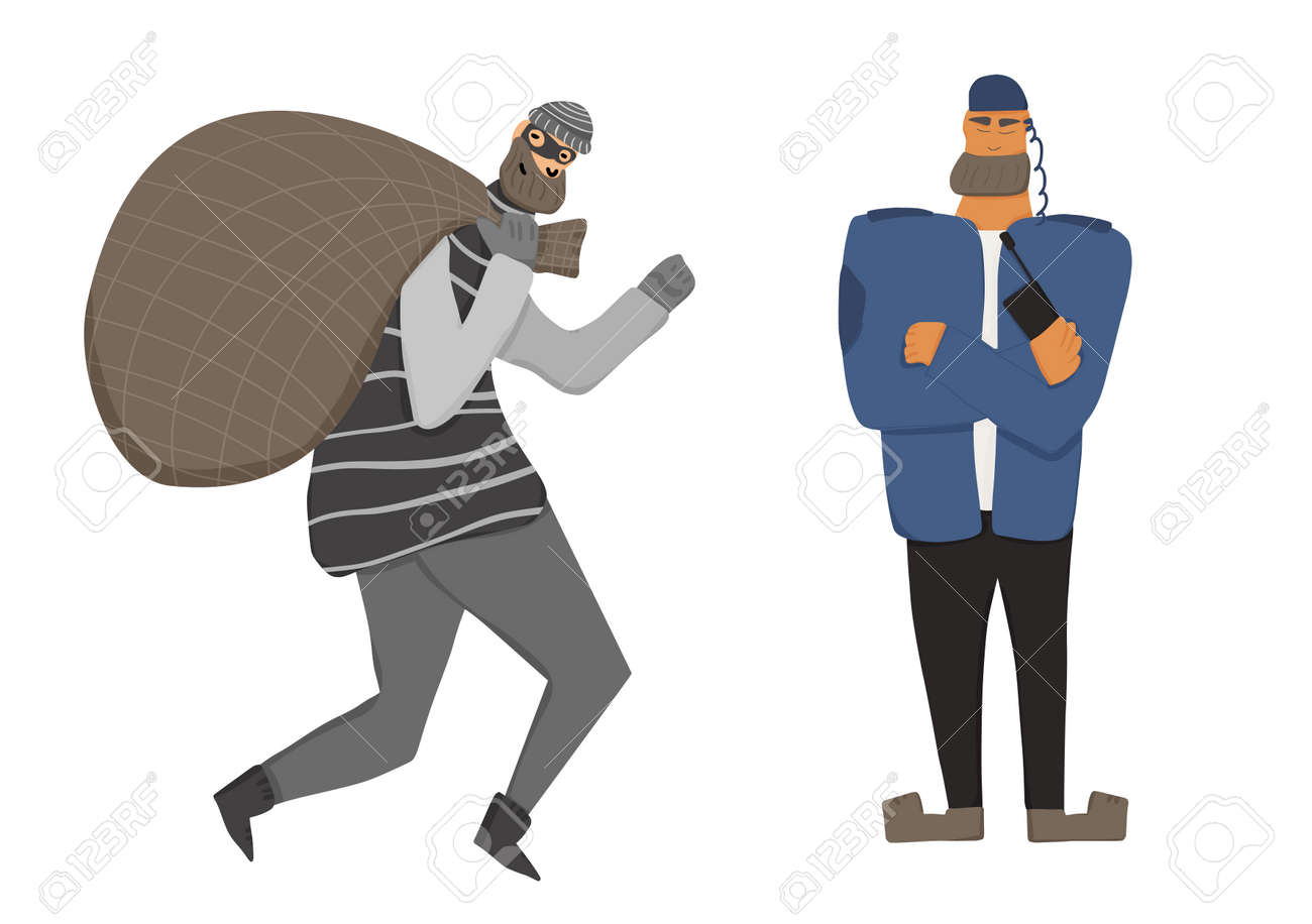 Security guard standing with arms crossed. Man wearing in a guards uniform caught the thief isolated on white background. Vector illustration. - 170370135