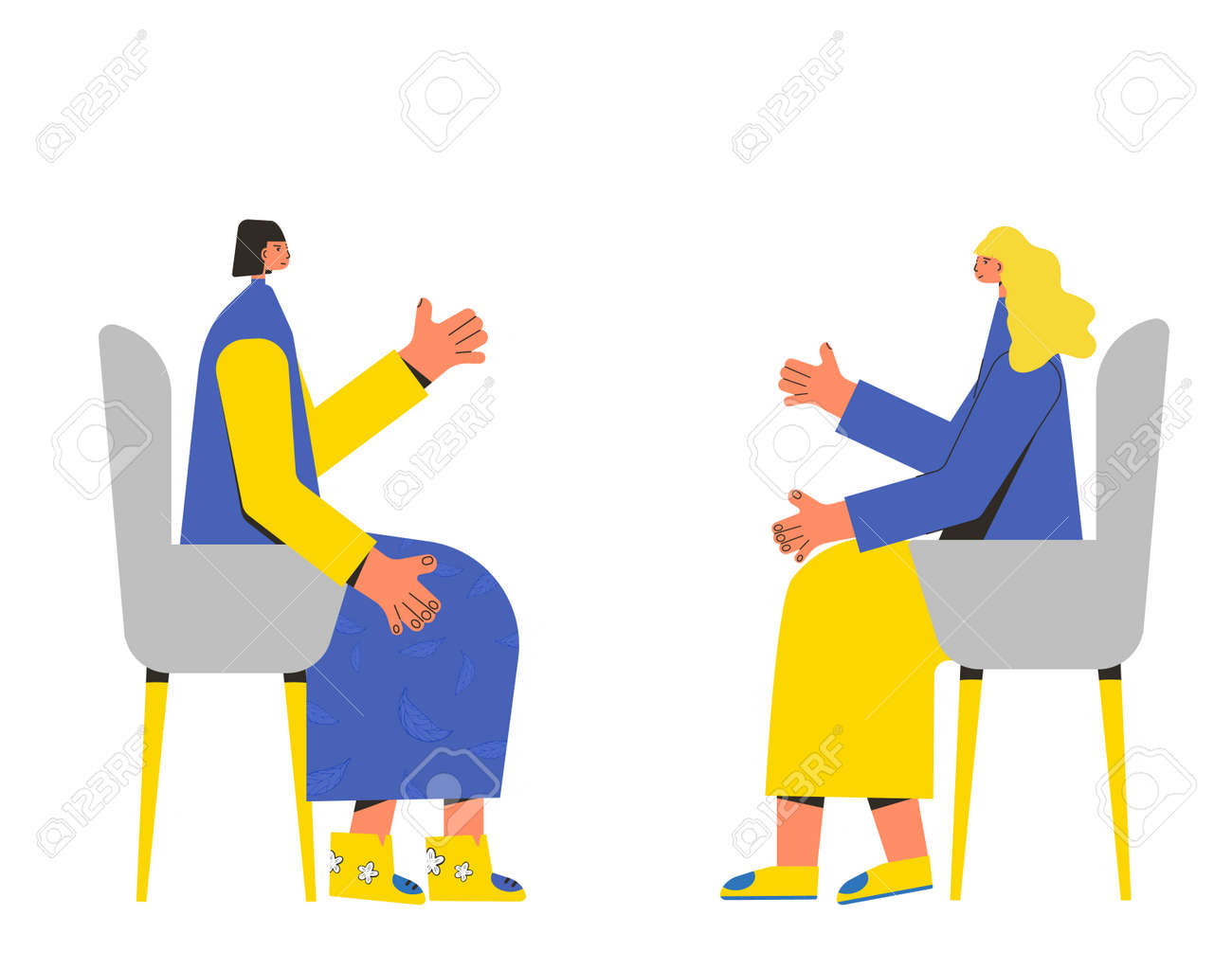 Psychotherapy. Counseling. Female patient with psychologist sitting and talking about depression, family problems, Professional support. Couch session. Mental health. Vector flat illustration. - 168652677