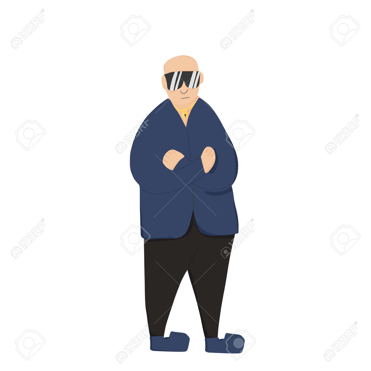Security guard standing with arms crossed. Man wearing in a guards uniform and sun glasses isolated on white background. Vector illustration. - 168652679