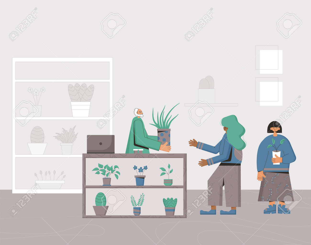 Indoor plants shop. Sale of potted house plants. Seller houseplants with her client. Small business concept. Owner of flowers store giving a pot to a customer. Vector flat illustration. - 170370137