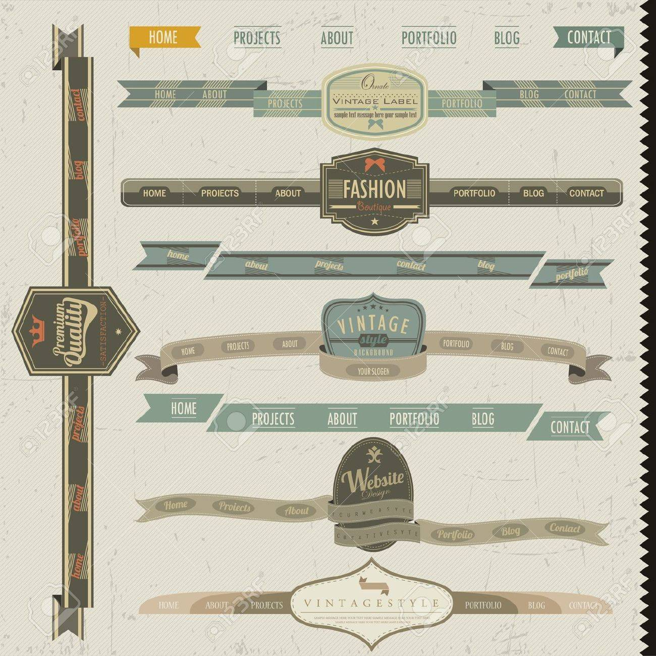 Retro vintage style website headers and navigation elements Stock Vector - 14083697