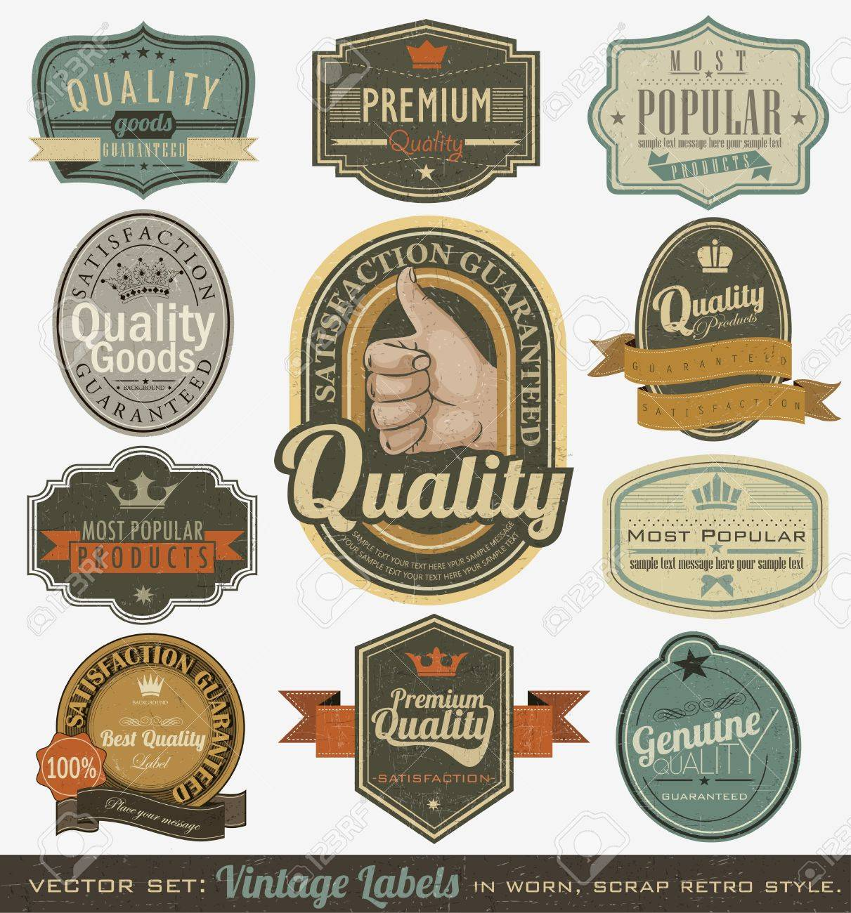 Vintage premium quality and most popular labels  Retro design Stock Vector - 14083701