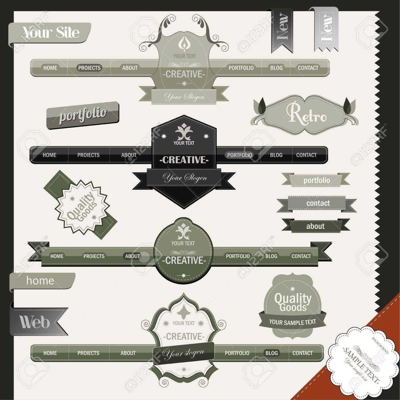 Retro vintage style website elements Stock Vector - 16967544