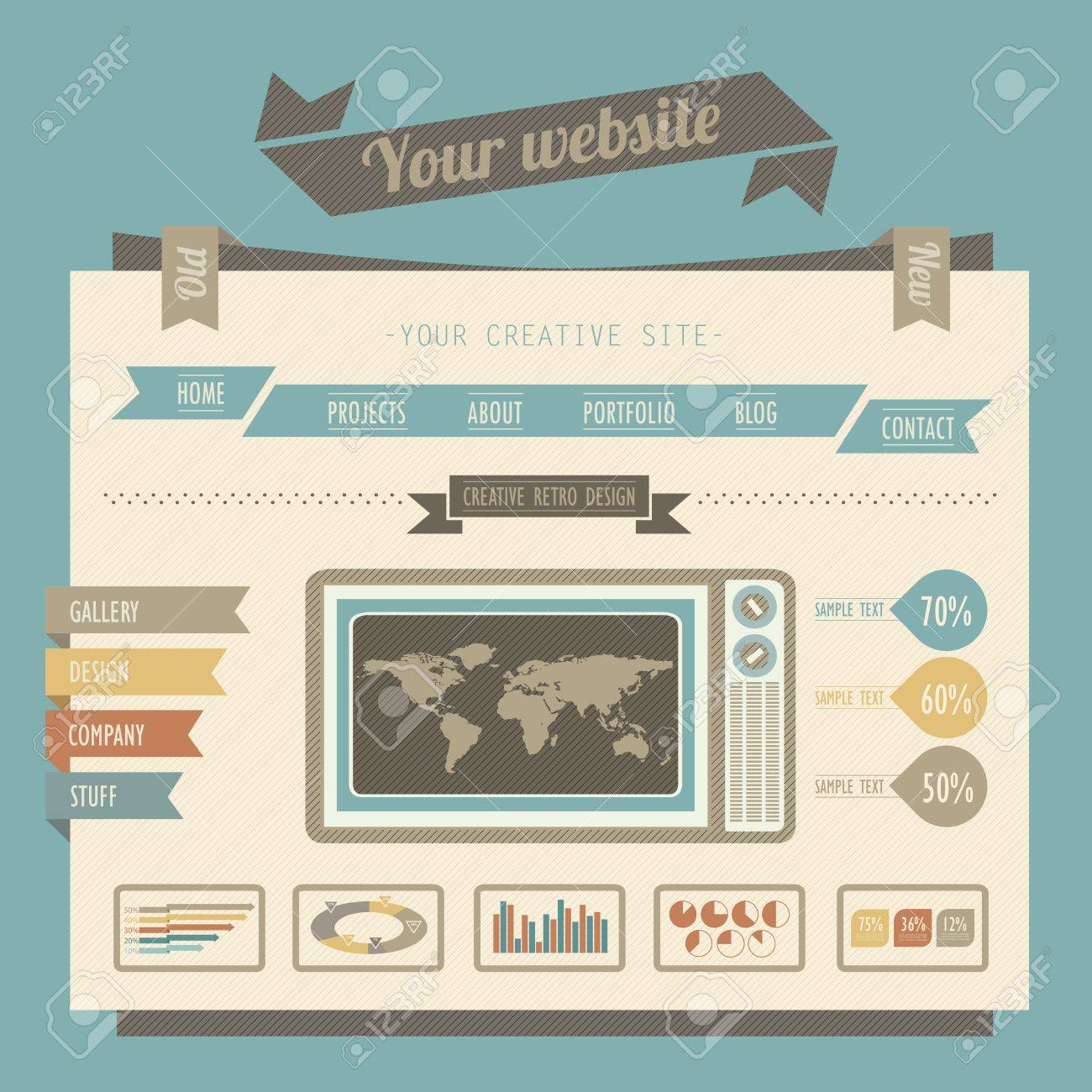 Vintage Style Website Templates Royalty Free Cliparts, Vectors, And ...
