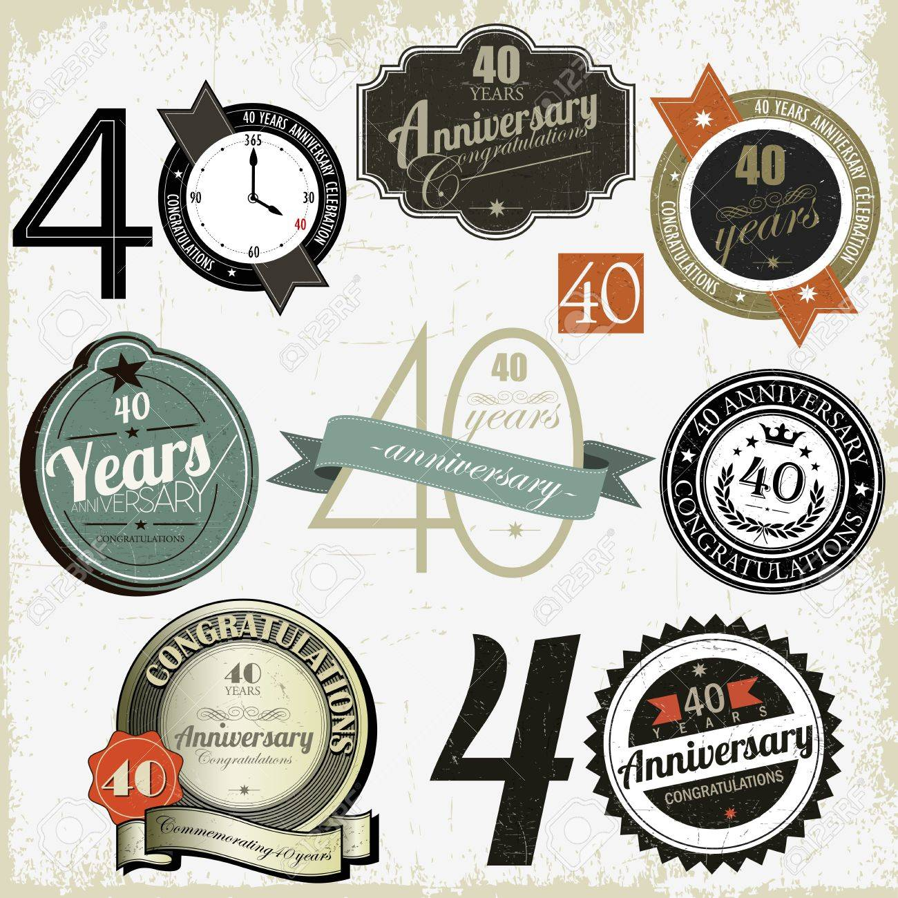 40 years Anniversary other jubilee labels, signs and designs collection Stock Vector - 16064916