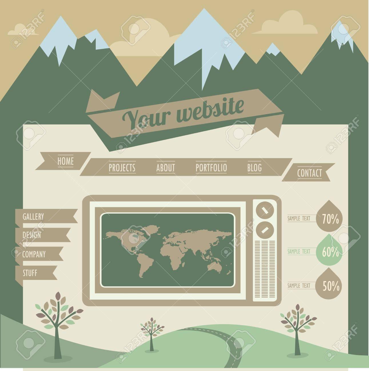 Vintage retro website template Stock Vector - 16967540