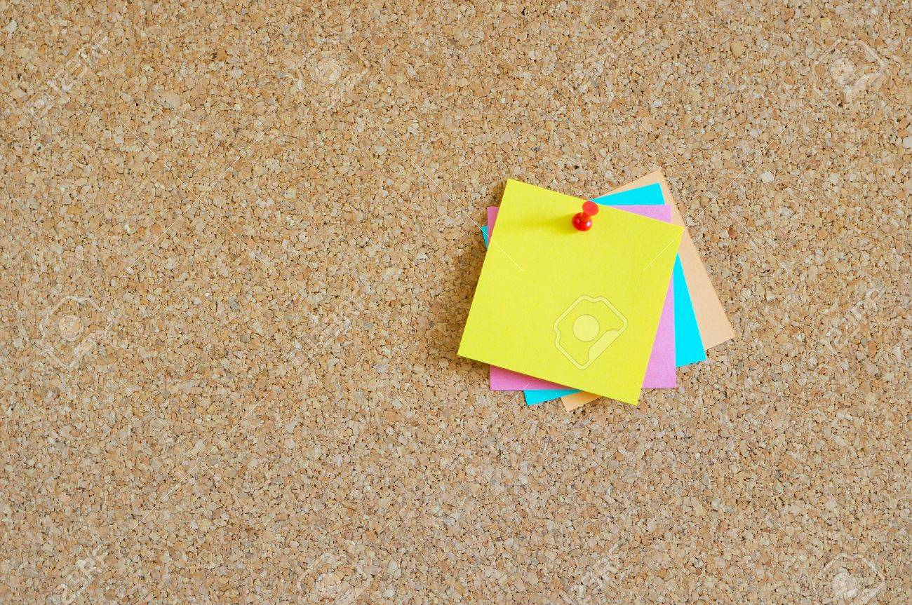 Cork board with colorful post-it Stock Photo - 17308315