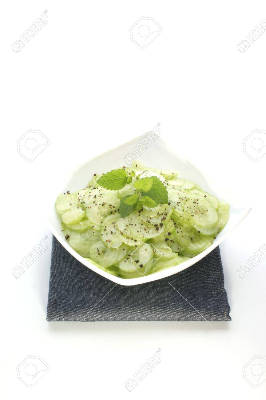 cucumber salad with fresh pepper and lemon balm Stock Photo - 5120039